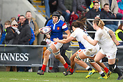 French player N'diaye Safi try to break a tackle in the second half during the Women's 6 Nations match between England Women and France Women at the Keepmoat Stadium, Doncaster, England on 10 February 2019.
