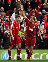Photo: Paul Thomas.<br /> Liverpool v Sheffield United. The Barclays Premiership. 24/02/2007.<br /> <br /> Goal scorer Steven Gerrard (L) of Liverpool celebrates his goal with Dirk Kuyt.