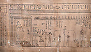 Ancient Egyptian Book of the Dead papyrus - Spell 126 - what to say in the judgement before Osiris, Iufankh's Book of the Dead, Ptolemaic period (332-30BC).Turin Egyptian Museum. close up<br /> <br /> Spell 125 instruct the deceased as to waht to say infront of Osiris and the Forty Two Judges in the Hall of Two Maat, the netherworlds Judgement Hall. <br /> <br /> The translation of  Iuefankh's Book of the Dead papyrus by Richard Lepsius marked a truning point in the studies of ancient Egyptian funereal studies. .<br /> <br /> If you prefer to buy from our ALAMY PHOTO LIBRARY  Collection visit : https://www.alamy.com/portfolio/paul-williams-funkystock/ancient-egyptian-art-artefacts.html  . Type -   Turin   - into the LOWER SEARCH WITHIN GALLERY box. Refine search by adding background colour, subject etc<br /> <br /> Visit our ANCIENT WORLD PHOTO COLLECTIONS for more photos to download or buy as wall art prints https://funkystock.photoshelter.com/gallery-collection/Ancient-World-Art-Antiquities-Historic-Sites-Pictures-Images-of/C00006u26yqSkDOM
