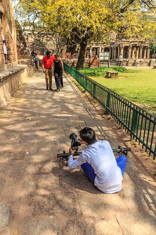 Wedding couple poses in Hauz Khas, New Delhi, India. In India it is typical that couple photography happens in some historical place.