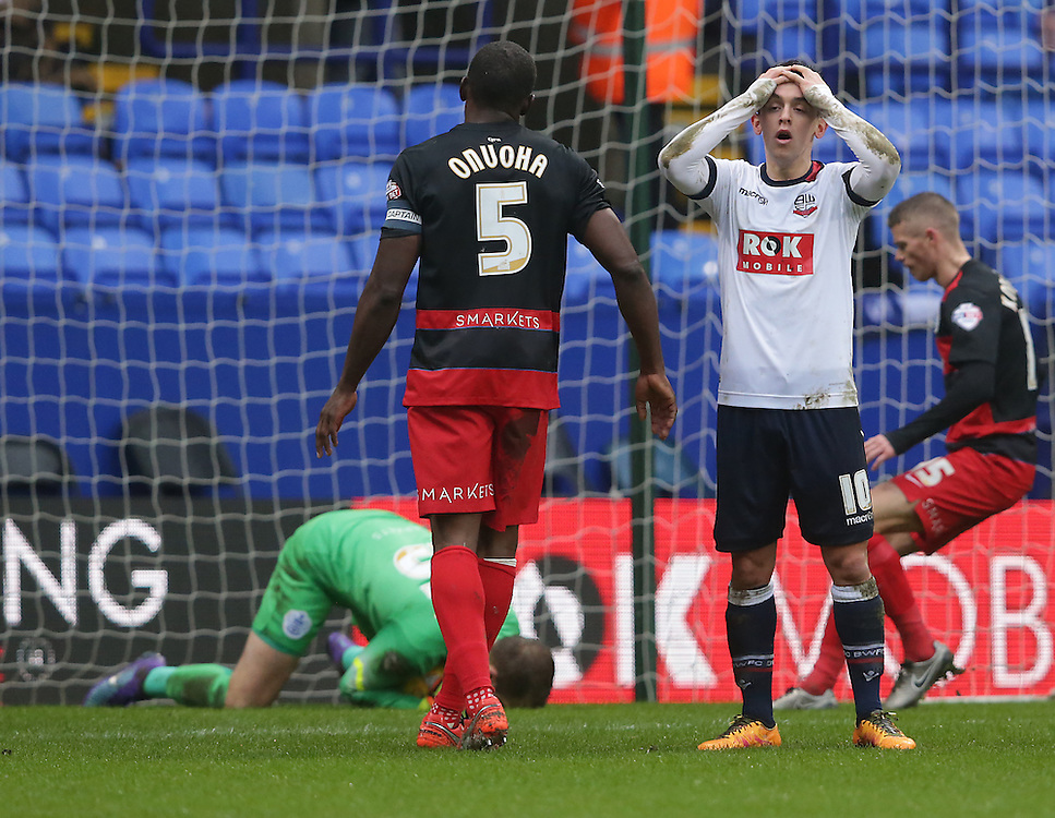 Bolton Wanderers' Zach Clough shows his frustration at a missed chance as Queens Park Rangers' goalkeeper Alex Smithies saves his close range header<br /> <br /> Photographer Stephen White/CameraSport<br /> <br /> Football - The Football League Sky Bet Championship - Bolton Wanderers v Queens Park Rangers - Saturday 20th February 2016 - Macron Stadium - Bolton <br /> <br /> © CameraSport - 43 Linden Ave. Countesthorpe. Leicester. England. LE8 5PG - Tel: +44 (0) 116 277 4147 - admin@camerasport.com - www.camerasport.com