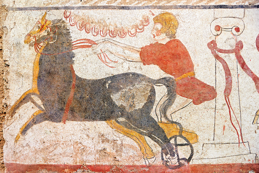Lucanian fresco tomb painting of a man racing a chariot past the winning post. Paestrum, Andriuolo. 3rd Century BC .<br /> <br /> If you prefer to buy from our ALAMY PHOTO LIBRARY  Collection visit : https://www.alamy.com/portfolio/paul-williams-funkystock - Scroll down and type - Paestum Fresco - into LOWER search box. {TIP - Refine search by adding a background colour as well}.<br /> <br /> Visit our ANCIENT GREEKS PHOTO COLLECTIONS for more photos to download or buy as wall art prints https://funkystock.photoshelter.com/gallery-collection/Ancient-Greeks-Art-Artefacts-Antiquities-Historic-Sites/C00004CnMmq_Xllw