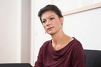 16 MAY 2016, BERLIN/GERMANY:<br /> Sahra Wagenknecht, MdB, Die Linke, Fraktionsvorsitzende DIe Linke Bundestagsfraktion, waehrend einem Interview, in ihrem Buero, Jakob-Kaiser-Haus, Deutscher Bundestag<br /> IMAGE: 20170516-02-035<br /> KEYWORDS: Büro