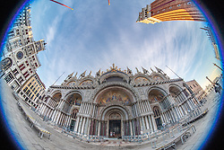 A fisheye view of St Mark's Basilica in Venice. From a series of travel photos in Italy. Photo date: Tuesday, February 12, 2019. Photo credit should read: Richard Gray/EMPICS