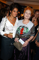 Left to right, artist TRACEY EMIN and top British fashion designer VIVIENNE WESTWOOD at a party hosted by Versace during London Fashion Week 2005 at their store in Slaone Street, London on 19th September 2005.<br /><br />NON EXCLUSIVE - WORLD RIGHTS