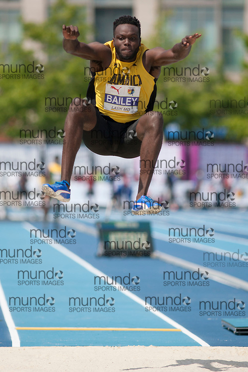 Toronto, ON -- 12 August 2018: Ramone Bailey (Jamaica), bronze in long jump at the 2018 North America, Central America, and Caribbean Athletics Association (NACAC) Track and Field Championships held at Varsity Stadium, Toronto, Canada. (Photo by Sean Burges / Mundo Sport Images).