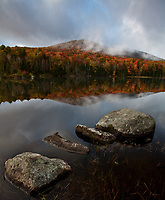 #9 Early morning light illuminates the Autumn colors of a mountain on Seyon Pond in Groton State Forest, Vermont