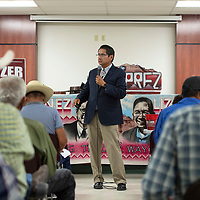 Jonathan Nez speaks during a meet and greet Sunday Sept. 30, 2018 at the Chichiltah chapter house.