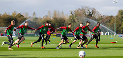 CARDIFF, WALES - Wednesday, October 7, 2020: Wales' (L-R) Matthew Smith, Rhys Norrington-Davies, Neco Williams, Ethan Ampadu, Joseff Morrell, Tyler Roberts and Rabbi Matondo during a training session at the Vale Resort ahead of the International Friendly match against England. (Pic by David Rawcliffe/Propaganda)