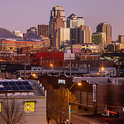 Kansas City MO skyline at sunrise in December 2019, shot to include the new Loews Hotel at the Kansas City Convention Center.