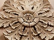 Greek revival medallion on the ceiling of Melrose, an antebellum home built by the John T. McMurran Family, Natchez National Historical Park, Natchez, Mississippi.