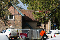 Quainton, UK. 6th October, 2020. A HS2 ground clearance site at Doddershall Lodge. Doddershall Lodge, which contains many historic features and fittings, was built in the 1890s to provide access to 16th century Doddershall House but is now expected to be demolished and trees around it cleared as part of works for the HS2 high-speed rail link.