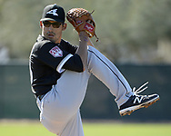 GLENDALE, ARIZONA - FEBRUARY 20:  Bernardo Flores Jr. of the Chicago White Sox pitches during spring training workouts on February 20, 2019 at Camelback Ranch in Glendale Arizona.  (Photo by Ron Vesely). Subject:   Bernardo Flores Jr.