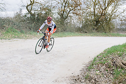 Joëlle Numainville chases back to the group after early issues - 2016 Strade Bianche - Elite Women, a 121km road race from Siena to Piazza del Campo on March 5, 2016 in Tuscany, Italy.