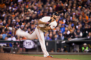 San Francisco Giants starting pitcher Madison Bumgarner (40) delivers a pitch to the Chicago Cubs during Game 3 of the NLDS at AT&T Park in San Francisco, Calif., on October 10, 2016. (Stan Olszewski/Special to S.F. Examiner)
