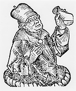 Isaac Judaeus physician to the rulers of Tunisia. 9th-10th century. Judaeus (c855-c955) was one of the first whose works were translated from Arabic to Latin.  From 'Liber chronicarum mundi'  by Hartmann Schedel (Nuremberg Chronicle), Nuremberg, 1493. Woodcut.