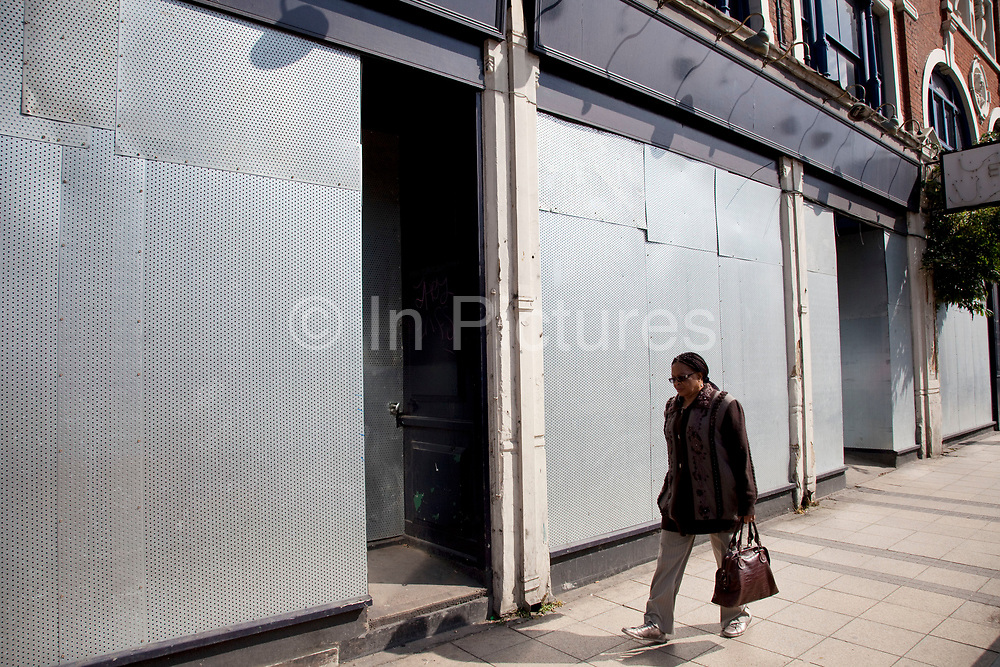 Closed down shop in Stratford in East London. This is a relatively poor area of London, but in recent years has seen much regeneration, the construction of a major transport hub and various shopping complexes. Stratford is adjacent to the London Olympic Park and is currently experiencing regeneration and expansion linked to the 2012 Summer Olympics. (Photo by Mike Kemp/For The Washington Post)