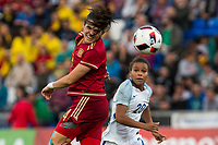 Spain's Andrea Pereira England's Nikita Parris during the frendly match between woman teams of  Spain and England at Fernando Escartin Stadium in Guadalajara, Spain. October 25, 2016. (ALTERPHOTOS/Rodrigo Jimenez)