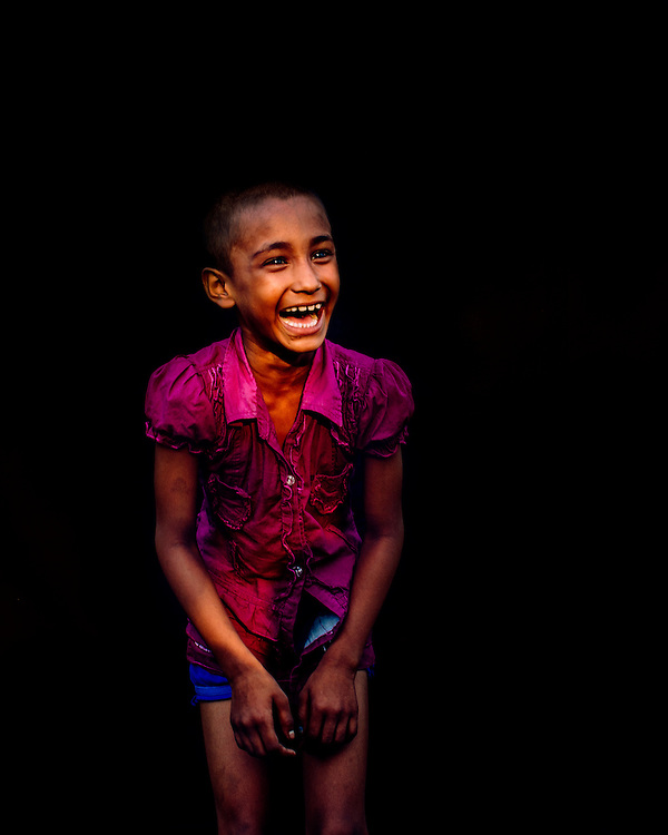 Colourful Portrait of a girl laughing