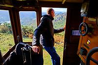 France, Pyrénées-Atlantiques (64), Pays Basque, Ascain, la Rhune, le train de la Rhune, petit train à crémaillère, Stephane Lemaitre responsable technique // France, Pyrénées-Atlantiques (64), Basque Country, Ascain, La Rhune, the Rhune train, small cog train