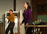 "Mike Talman (Rodney Martel) and Susy Hendrix (Nerissa Bodwell) during Streetcar Company's dress rehearsal for ""Wait Until Dark"" Monday evening at Laconia High School.  (Karen Bobotas/for the Laconia Daily Sun)"