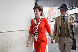 © Licensed to London News Pictures. 18/09/2016. London, UK. Leader of the UK Independence Party Diane James arrives at BBC Broadcasting House before appearing on the Sunday Politics Show today. She was appointed leader of UKIP two days ago. Photo credit : Tom Nicholson/LNP