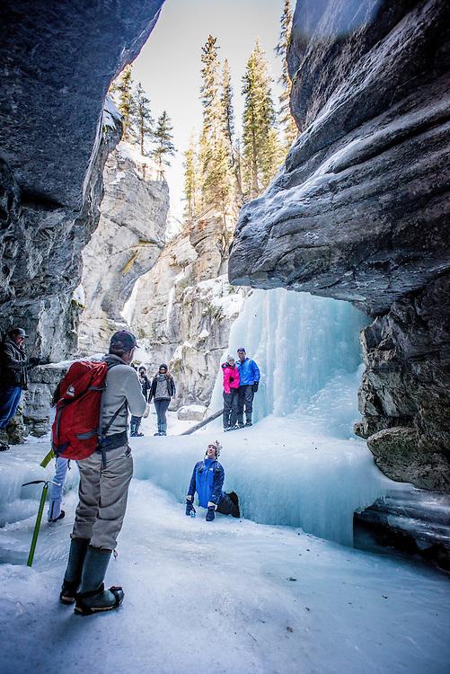 The Maligne Canyon Icewalk in Jasper, Alberta, Canada.<br /> <br /> See the full photoessay at: http://xpatmatt.com/jasper-adventure-photos/