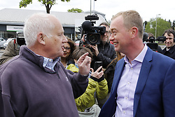 © Licensed to London News Pictures. 03/05/2017. Kidlington, UK. Liberal Democrat party leader Tim Farron is challenged by conservative voter Malcolm Baker during a campaign stop in Kidlington. Photo credit: Peter Macdiarmid/LNP