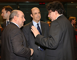 BRUSSELS, BELGIUM - MARCH-08-2005 - Thierry Breton, France's finance minister, right, speaks with colleagues during the ECOFIN conference, a meeting of  European Union finance and economic ministers, in Brussels.