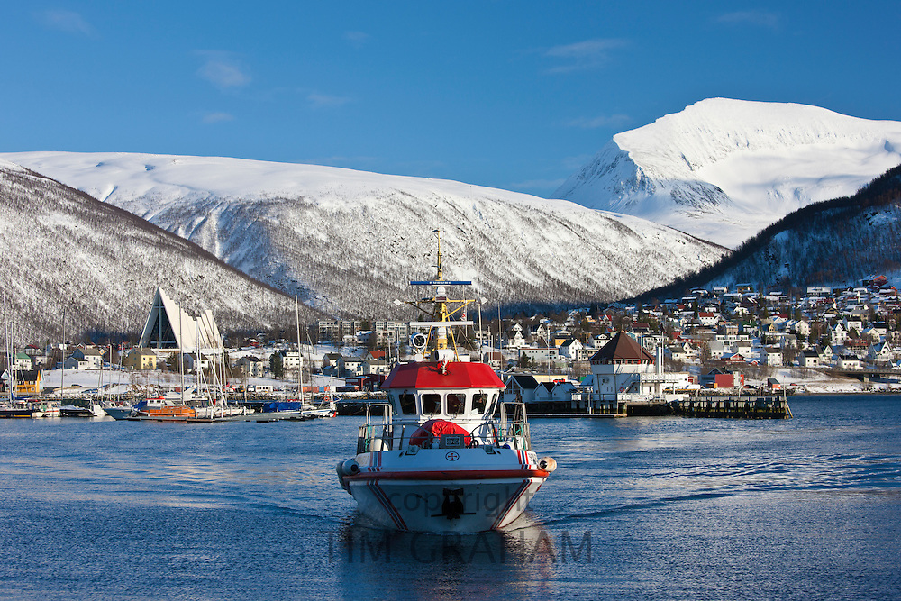 Tromso Coastguard Rescue boat, Skomvaer III, and The Arctic Cathedral at Tromso, Northern Norway
