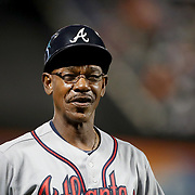 NEW YORK, NEW YORK - SEPTEMBER 26:   Third base coach Ron Washington #37 of the Atlanta Braves during the Atlanta Braves Vs New York Mets MLB regular season game at Citi Field, Flushing, Queens, on September 26, 2017 in New York City. (Photo by Tim Clayton/Corbis via Getty Images)