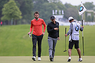 Michael Carrick and Rory Mcllroy on the 1st green during the Celebrity Pro-Am day at Wentworth Club, Virginia Water, United Kingdom on 23 May 2018. Picture by Phil Duncan.