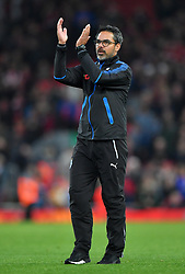Huddersfield Town manager David Wagner reacts after the final whistle during the Premier League match at Anfield, Liverpool.