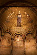 Interior of apsidal mosaic in Cathedral of San Giusto, depicting Christ between St Justus and St Servulus, Trieste, Italy