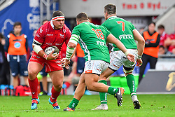 Werner Kruger of Scarlets in action during todays match<br /> <br /> Photographer Craig Thomas/Replay Images<br /> <br /> Guinness PRO14 Round 3 - Scarlets v Benetton Treviso - Saturday 15th September 2018 - Parc Y Scarlets - Llanelli<br /> <br /> World Copyright © Replay Images . All rights reserved. info@replayimages.co.uk - http://replayimages.co.uk
