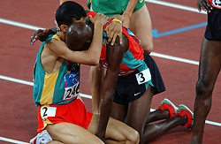 Hicham El Guerrouj MAR, Bernard Lagat KEN in action during Olympics Games Athletics day 12 on August 24, 2004 in Olympic Stadion Spyridon Louis, Athens.