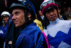 (c) under License to London News Pictures 02/11/2010. Jockeys contesting the 2010 Melbourne cup getting ready to mount there horses.