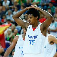 08 August 2012: France Mickael Gelabale looks dejected during 66-59 Team Spain victory over Team France, during the men's basketball quarter-finals, at the 02 Arena, in London, Great Britain.