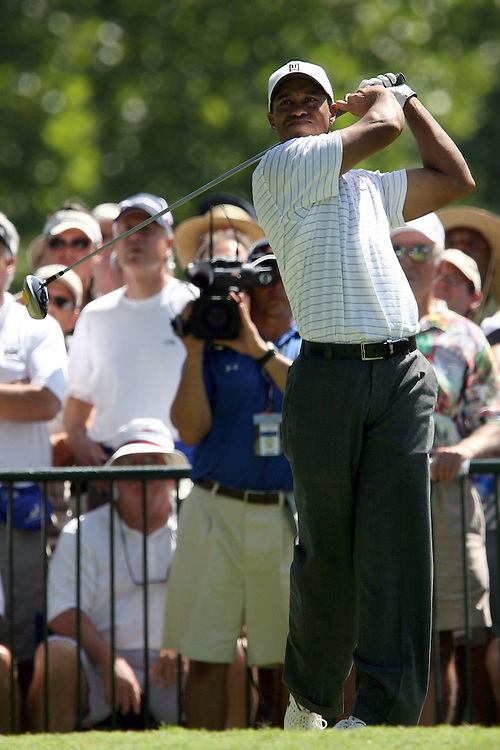 09 August 2007: Tiger Woods tees off on the 2nd hole during the first round of the 89th PGA Championship at Southern Hills Country Club in Tulsa, OK.