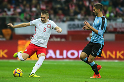 November 10, 2017 - Warsaw, Poland - Artur Jedrzejczyk (POL), Rodrigo Bentancur (URU)  in action during the international friendly match between Poland and Uruguay at National Stadium on November 10, 2017 in Warsaw, Poland. (Credit Image: © Foto Olimpik/NurPhoto via ZUMA Press)