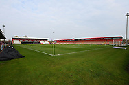 The Lamex Stadium during the EFL Sky Bet League 2 match between Stevenage and Cheltenham Town at the Lamex Stadium, Stevenage, England on 20 April 2021.
