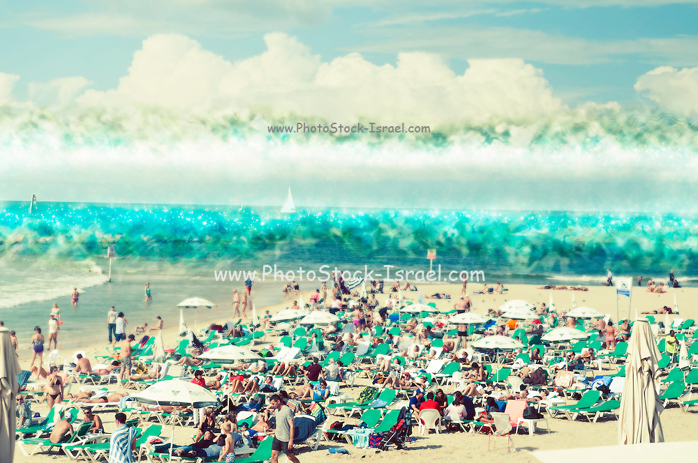 Digitally enhanced Sunny winter's day on Gordon Beach, Tel Aviv, Israel