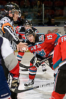 KELOWNA, CANADA, NOVEMBER 30: Colton Sissons #15 of the Kelowna Rockets faces off as the Tri City Americans visit the Kelowna Rockets  on November 30, 2011 at Prospera Place in Kelowna, British Columbia, Canada (Photo by Marissa Baecker/Shoot the Breeze) *** Local Caption *** Colton Sissons;
