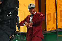 April 26, 2018 - Arlington, TX, U.S. - ARLINGTON, TX - APRIL 26:  Jaire Alexander walks onto the stage after being chosen by the Green Bay Packers with the 18th pick during the first round at the 2018 NFL Draft at AT&T Statium on April 26, 2018 at AT&T Stadium in Arlington Texas.  (Photo by Rich Graessle/Icon Sportswire) (Credit Image: © Rich Graessle/Icon SMI via ZUMA Press)