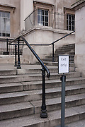 A Exit Only sign on the steps of the National Gallery, on 11th January 2017, in Trafalgar Square, London, England.