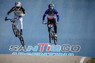 #593 (CAMPO Alfredo) ECU and #3 (ANDRE Sylvain) FRA  at Round 9 of the 2019 UCI BMX Supercross World Cup in Santiago del Estero, Argentina