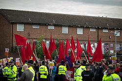 © Licensed to London News Pictures . 22/05/2019. Salford, UK. ANTI FASCIST protesters at the rally . Former EDL leader Stephen Yaxley-Lennon (aka Tommy Robinson ) holds a campaign rally at the derelict Mocha Parade shopping precinct in Salford , opposed by anti-fascists . Yaxley-Lennon is running for a seat in the European Parliament representing the North West of England . Photo credit: Joel Goodman/LNP
