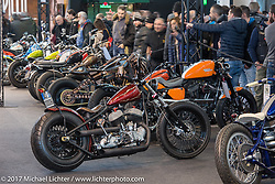 Giompo Choppers' 1942 Harley-Davidson WLA Flathead in the Low Ride custom bike show during the Motor Bike Expo. Verona, Italy. Sunday January 22, 2017. Photography ©2017 Michael Lichter.