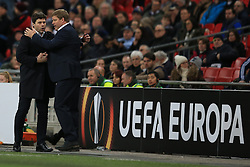 23 February 2017 - UEFA Europa League - (Round of 32) - Tottenham Hotspur v KAA Gent - Tottenham Hotspur Manager Mauricio Pochettino congratulates Gent Head Coach Hein Vanhaezebrouck - Photo: Marc Atkins / Offside.