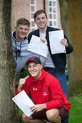 """© Licensed to London News Pictures. 15/08/2016. Sutton Coldfield, West Midlands,UK. Bishops Vesey's Grammar School pupils celebrating their A level results. Pictured, Joe Webb, Charlie Steventon, Laurie Harries. Headmaster Dominic Robson said, """"The pupils had done amazingly well, achieving 80% A star and B grades especially given the change to the marking of the A level system this year. Photo credit: Dave Warren/LNP"""
